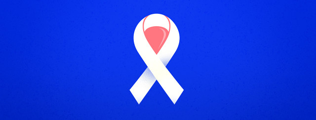 a cancer ribbon with a pink bladder in the center