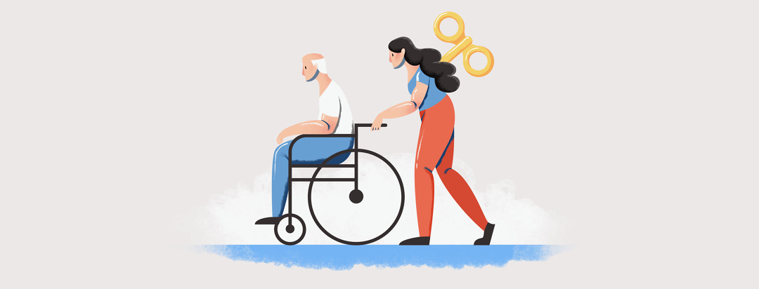 a weary woman pushing a man in a wheelchair