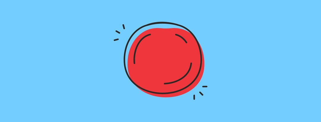a blue background with a red circle in the middle