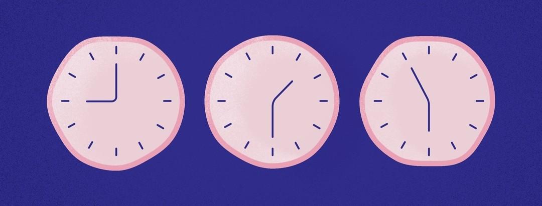 three clocks set at 9:00, 1:30, and 5:55
