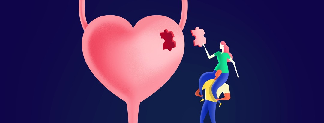 a woman lifted atop a man's shoulders placing a puzzle piece in a gap in a heart shaped bladder