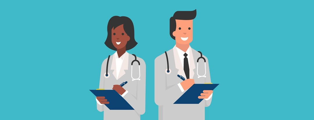 two doctors with clipboards