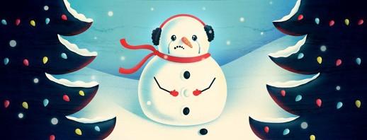a sad snowman has tears dripping down its face