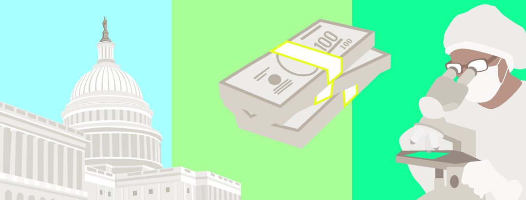 USA Capital building, a stack of money, and a scientist looking through a microscope