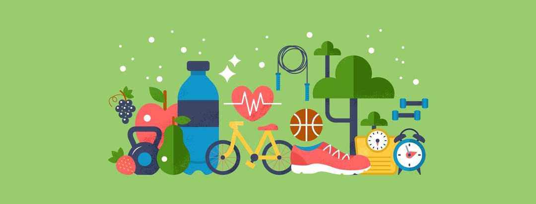 A water bottle, apple, shoe, bicycle, jump tope and several pieces of fitness equipment