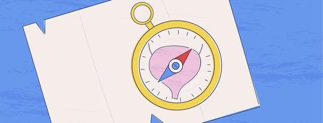 A compass with a bladder design set against a map.