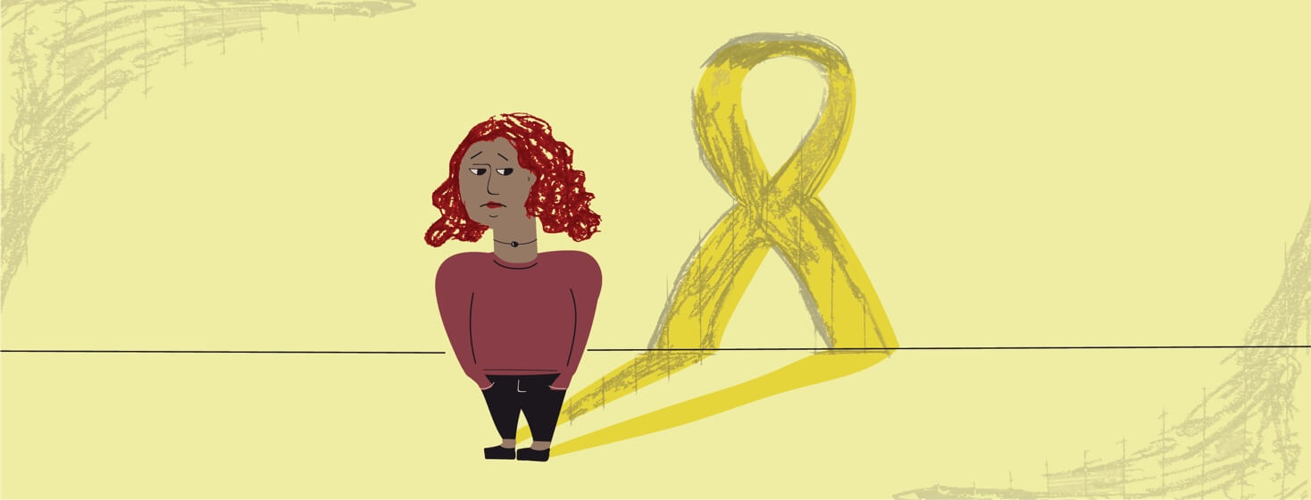 An anxious looking woman who's shadow is a cancer ribbon