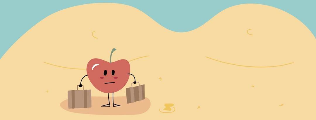 a cherry with his bags packed standing and looking unhappy on a woman's abdomen