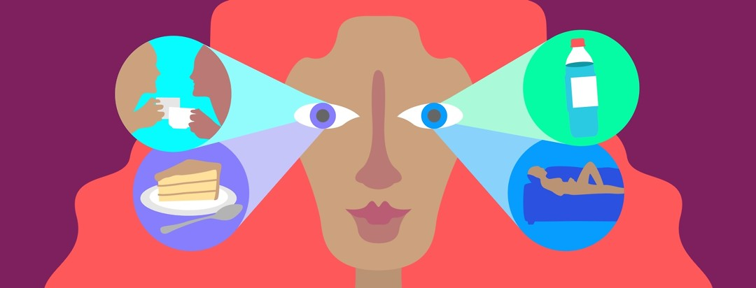 A woman with four portals coming from her eyes showing the things she is looking forward to do such as taking a nap, drinking water, eating cake, and talking to a friend