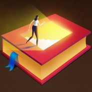 woman walking into a book