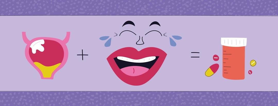 an equation of bladder cancer plus laughter equals medicine