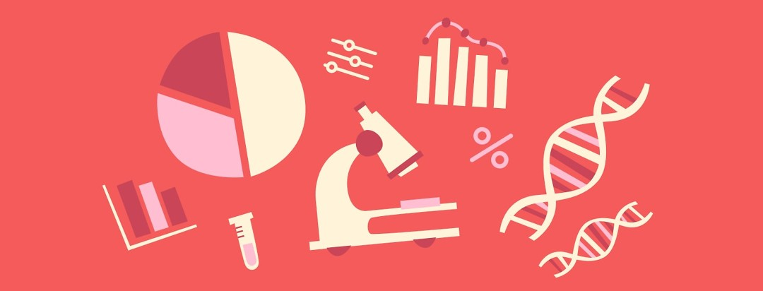 A microscope, bar graph, pie graph, and DNA strands in a collage on a red background.