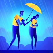 a man holding an umbrella over a sad looking woman in the rain