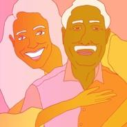 woman hugging an older man