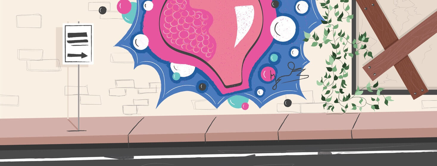 graffiti on a street wall of a bladder with a tumor in it
