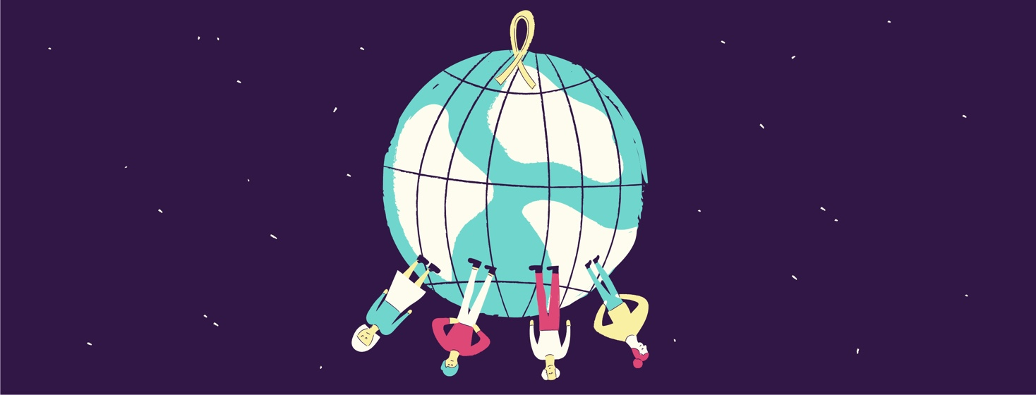 the world with a cancer ribbon on top and four people on the bottom, standing upside down