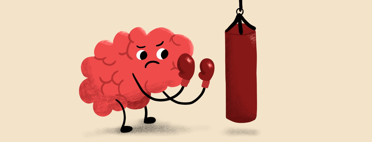 A brain gets ready to get in shape with a punching bag