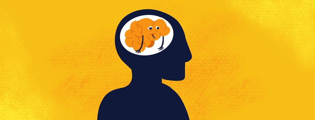 A silhouette of a man showing a tired brain with a thermometer in its mouth