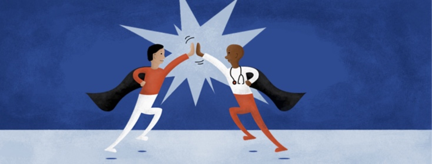 a doctor and a patient giving each other a high five with super hero capes on