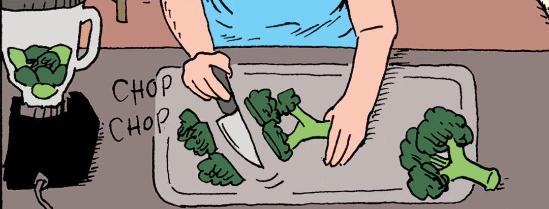 A person chops broccoli on a cutting board.
