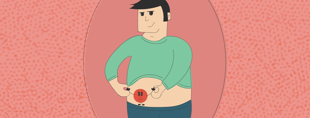 a man holding hands with his stoma