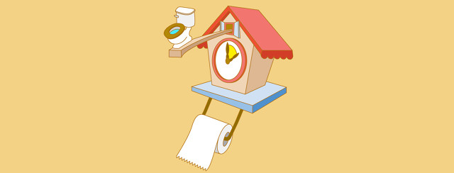 a cuckoo clock showing it's time to go to the bathroom