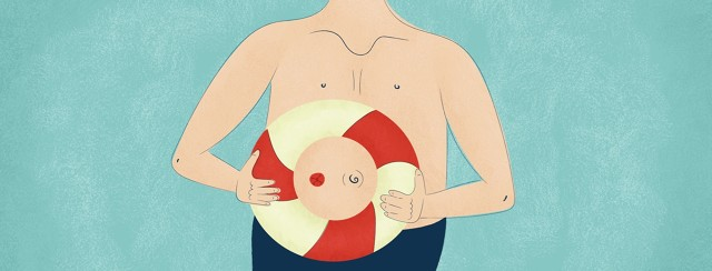 A person holding a life raft around his stoma
