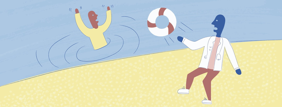 A doctor throwing a drowning man a life preserver