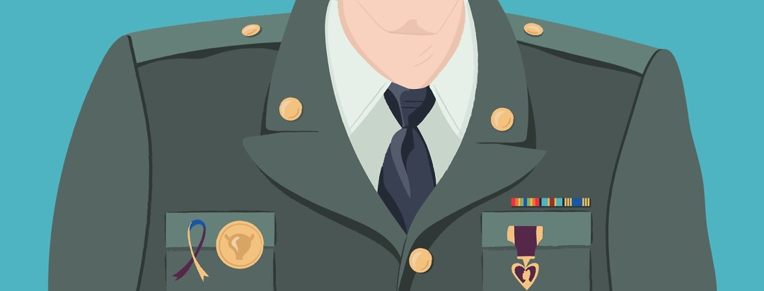 A man in a military uniform with a pin with a bladder on it and a bladder cancer ribbon