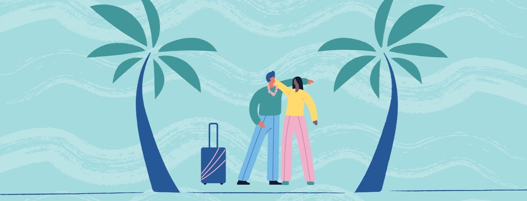 a man and a woman hugging, between two palm trees, the man has a lei and a suitcase