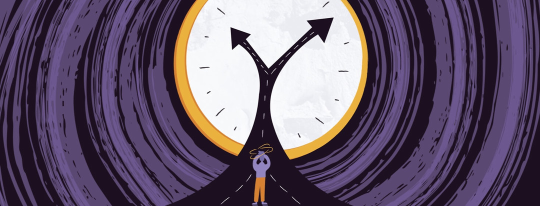 a person looking confused and standing on a road that becomes the hands of a clock showing different paths they can take