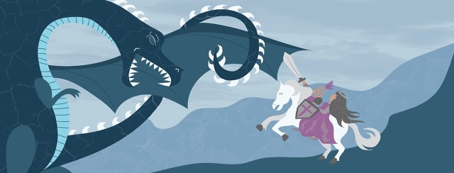 A knight and a princess on a white horse fighting a dragon