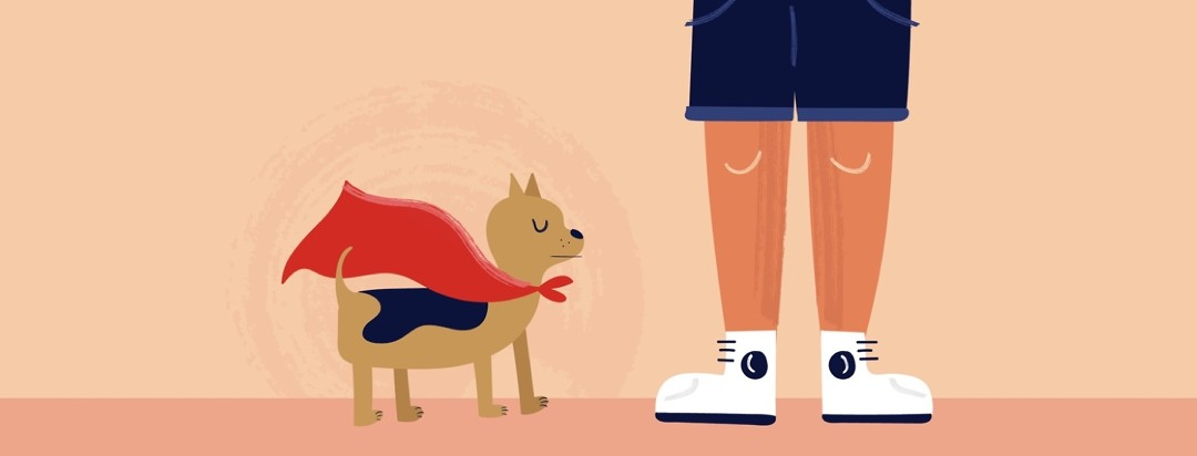 A small dog in a superhero cape stands next to a pair of legs