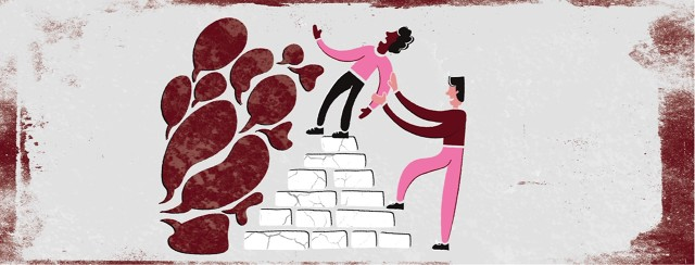 a person standing on a pyramid of bricks being pushed off on one side by speech bubbles but being held up by a person on the other side