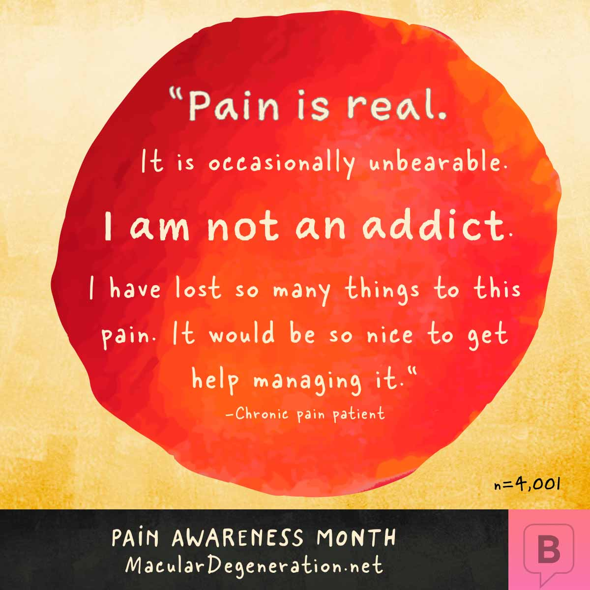 Quote describing pain as real, unbearable, and life changing. They are not an addict and just want help with the pain