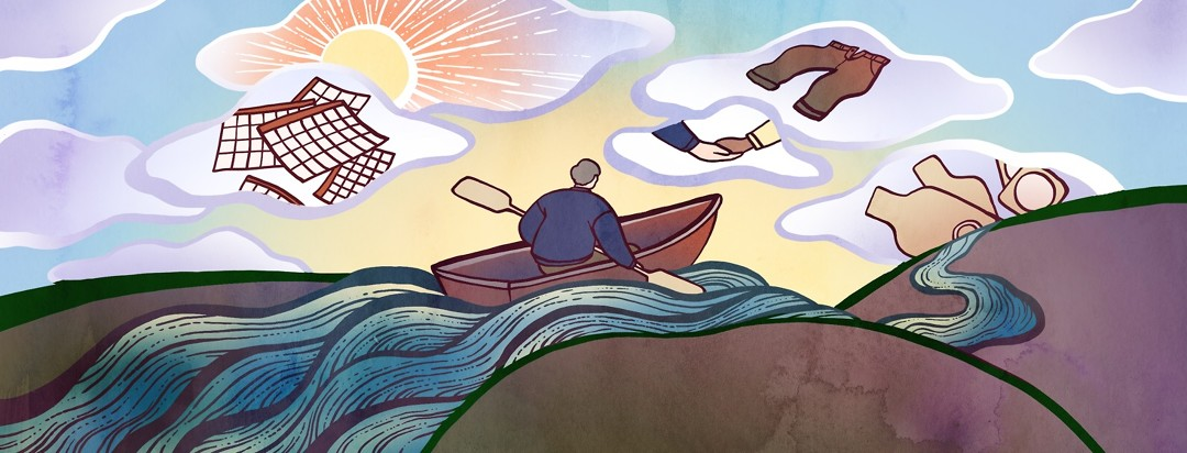 A man rows his boat down a river, while above him symbols appear in the clouds as a representation of five things he learned during his treatment journey.