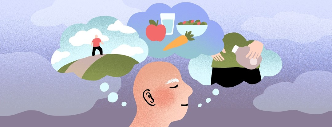 A man thinks of various methods of prehabilitation. Inside three thought bubbles are scenes of him exercising outdoors, choosing healthy foods, and learning about post-surgery care.