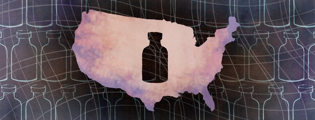 The silhouette of a bottle of BCG treatment is cut out of a map of the United States, as the outilnes of various bottles crowd the background behind them.