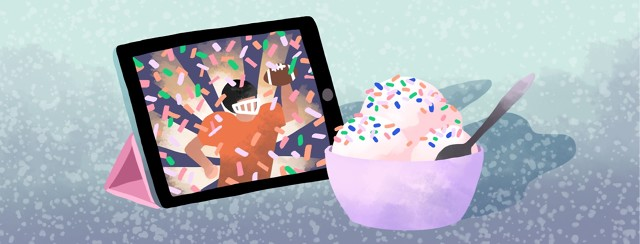 An iPad screen shows a triumphant football player showered with confetti next to a bowl of ice cream with rainbow sprinkles.