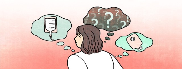 An anxious woman is surrounded by speech bubbles containing images of an IV drug, ostomy bag and a dark void full of question marks.