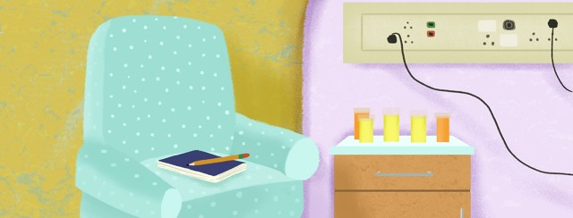 A notebook and pencil rests on a chair, next to a hospital bed and table with medications.