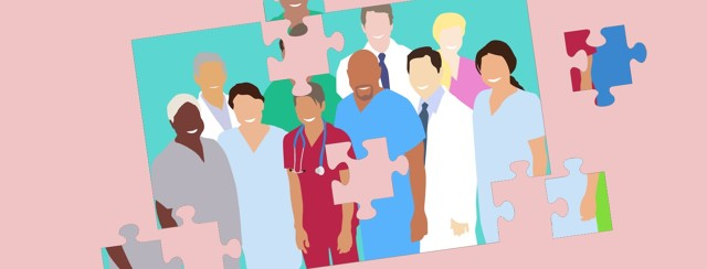 A partly finished puzzle shows a team of doctors, healthcare workers and support providers.