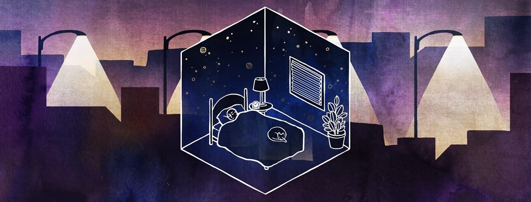 A man sleeps peacefully inside a dark bedroom cube, protected from the light pollution outside.