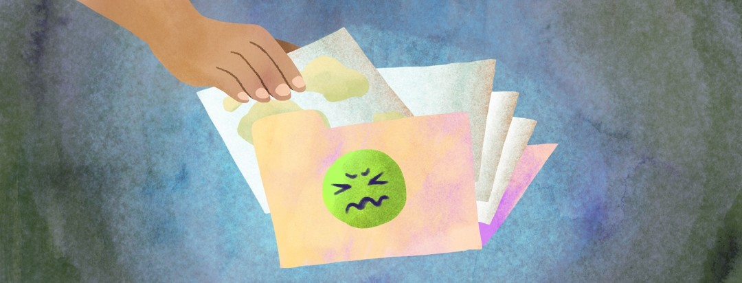 A hand files a paper with illustrations of mucus in a folder with a drawing of a face with a grossed-out expression.