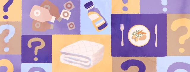 Advice for things to try in preparation for bladder removal surgery takes the form of various objects: ostomy bags and supplies, protein drinks, smaller meals, and waterproof mattress pads.