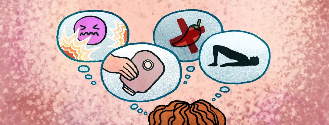 Thought bubbles emanate from a woman's head with depictions of the side effects from her surgery.