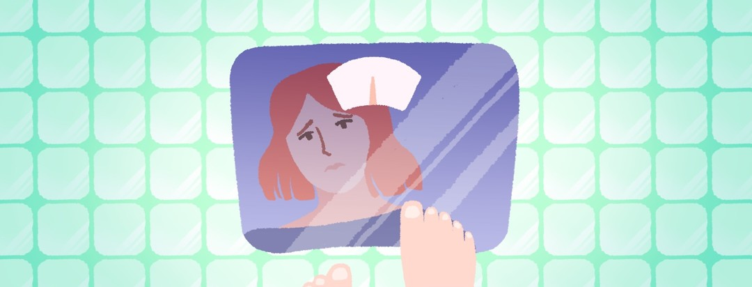 A woman's worried expression is reflected on the surface of a weight scale on a tiled floor.