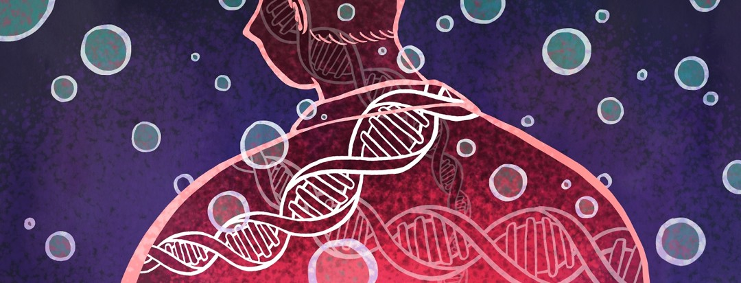 DNA strands float inside a man's silhouette.