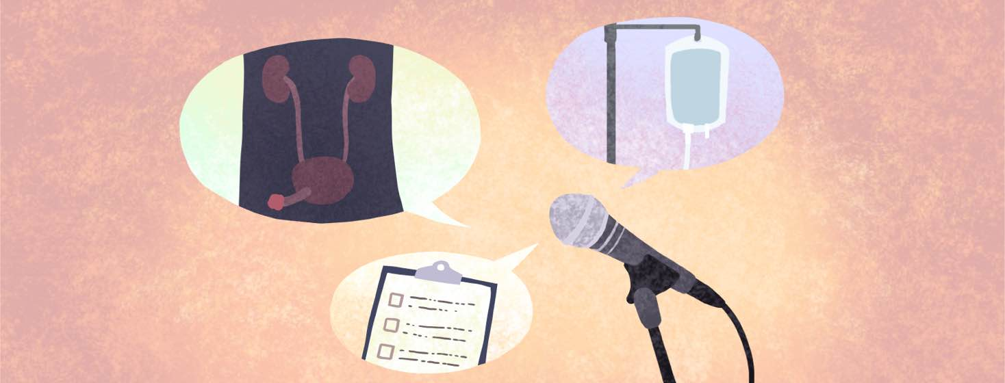 Three speech bubbles emerge from a microphone on a stand.