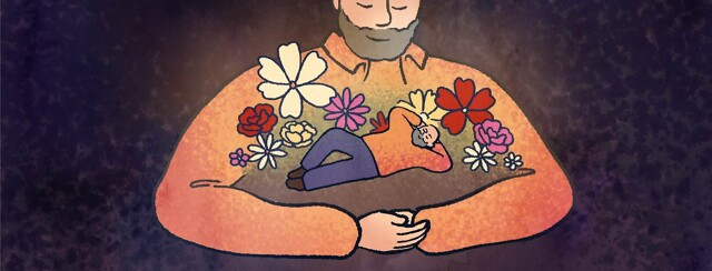 A man's arms create a circle in which his smaller self relaxes among flowers.